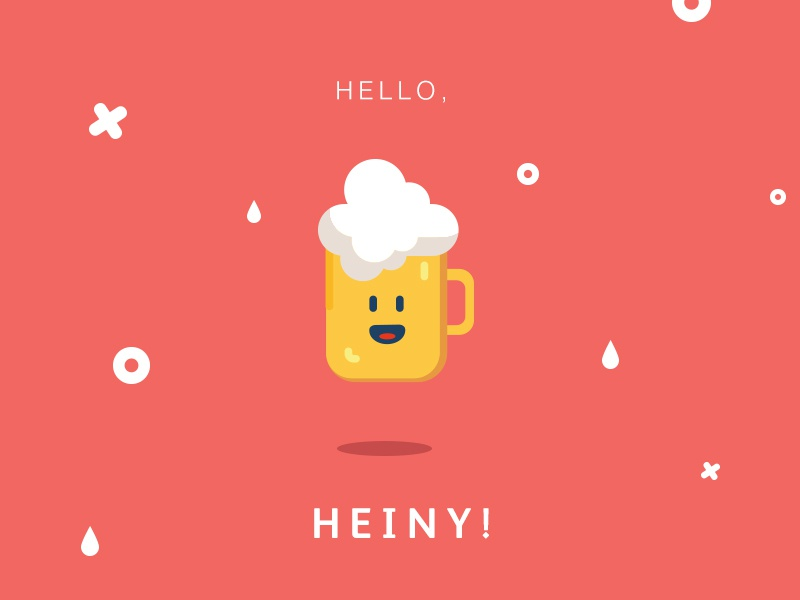 Hello Heiny hello corail yellow mascotte cute illustration pint foam mousse beer heiny