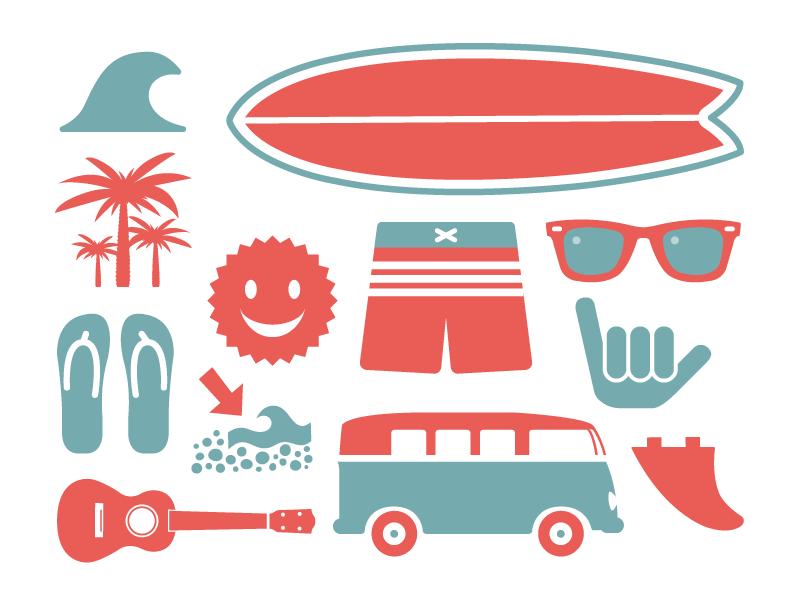 Surfing check van palmtree ukulele flipflop sun shaka sunglasses wave fin summer surfboard surf