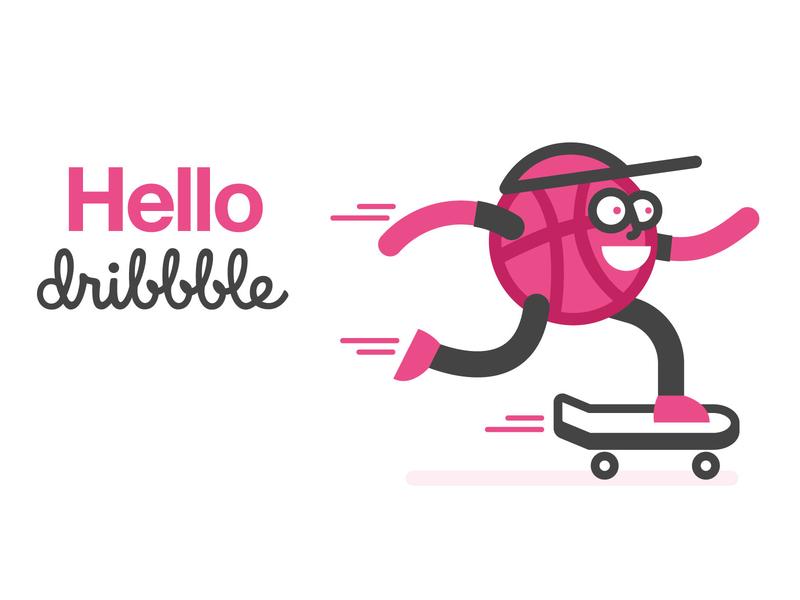 Helllo Dribbble! dribbble ball skateboard skater character hello dribble