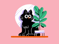 Almost weekend!🐱💤 framebyframe cat brushes amatita gif animation draw color character amatita studio 2d illustration