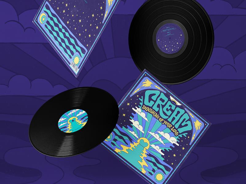 Cream - Sunshine Of Your Love vinyl cover lp woodstock vibes rock song lettering amatita brushes draw color amatita studio 2d illustration