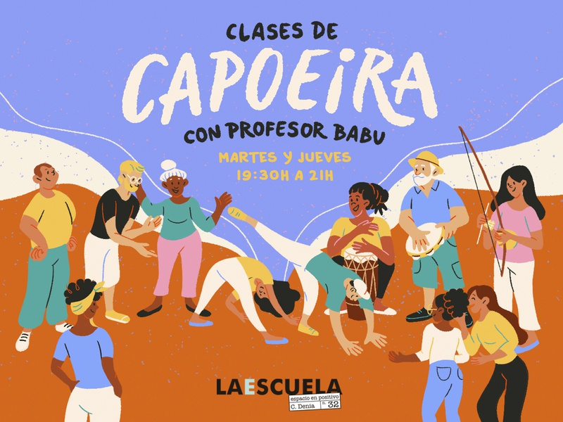 Capoeira poster poster dance capoeira clases spain valencia brushes draw color character amatita studio 2d illustration