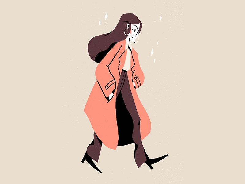 Character #2 hair coat woman walking walk character brushes draw illustration
