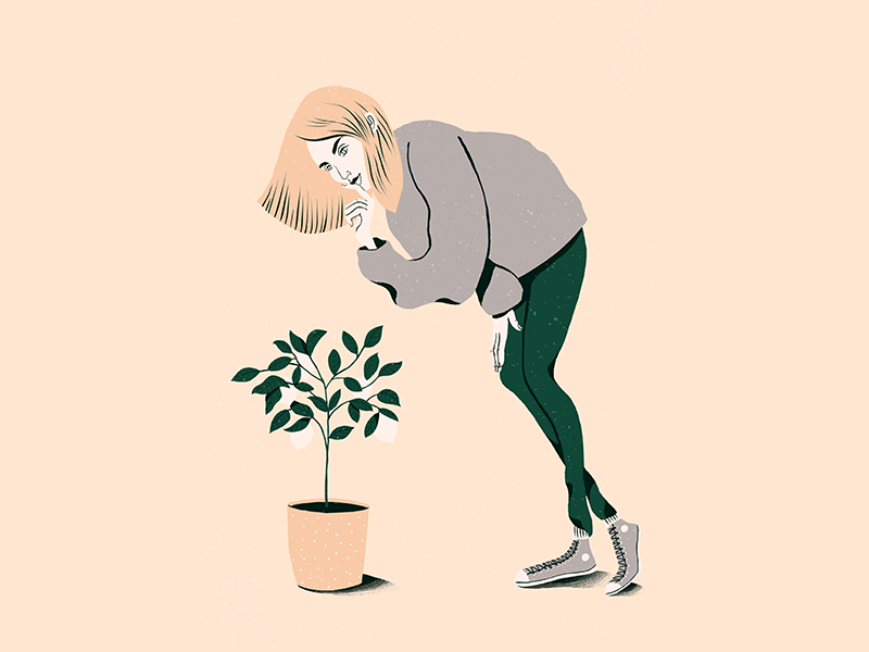 Character #4 leaf plant woman thinking character brushes draw illustration