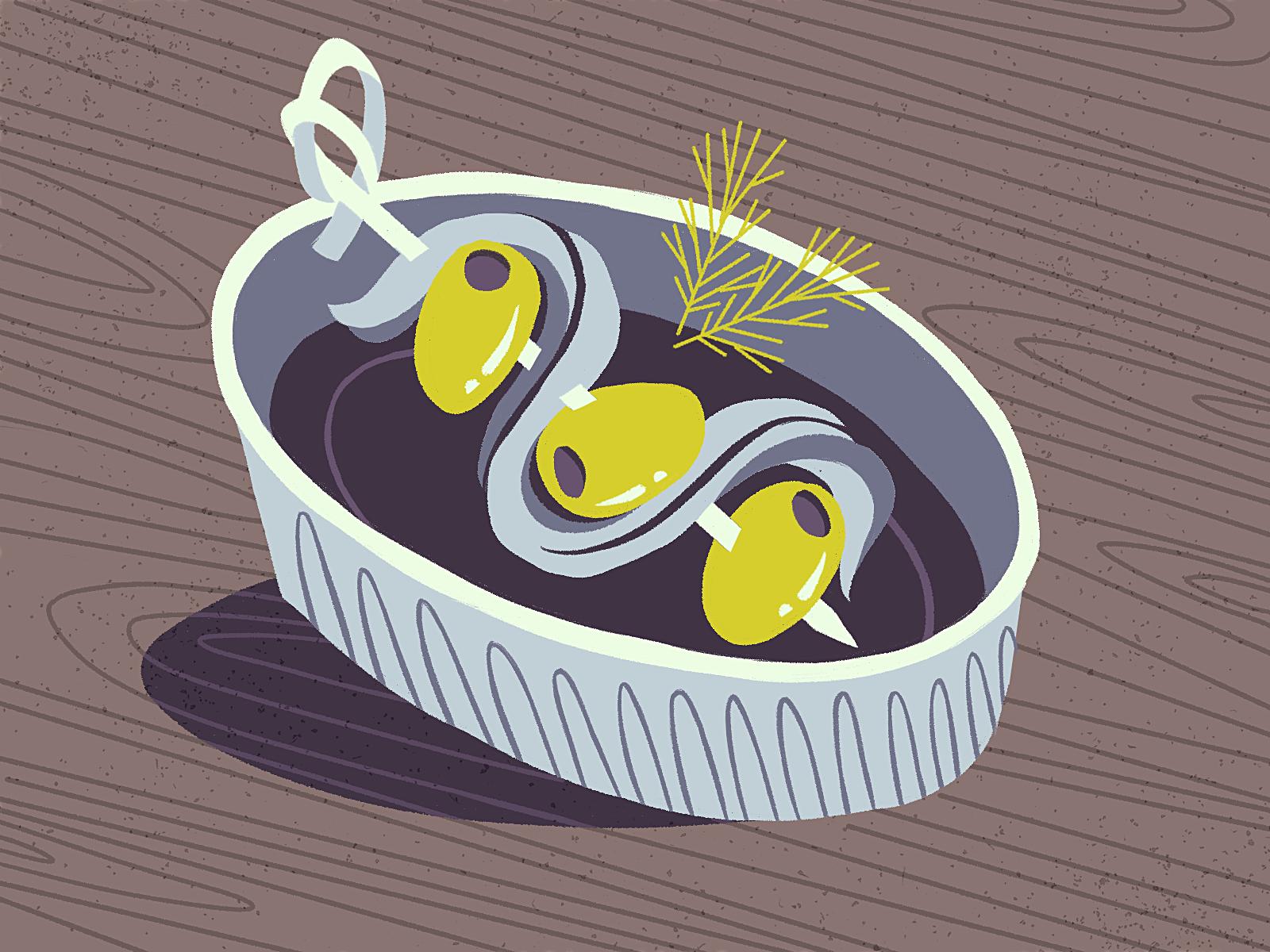 Broches boquerones y aceitunas