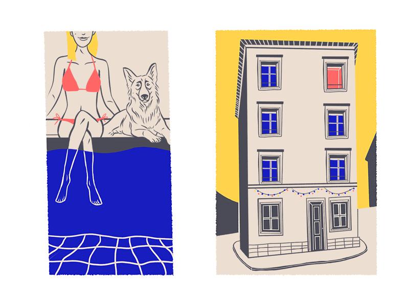 Spot Illustrations #2 magazine spot mag girl dog swimming pool building draw brushes 2d design amatita studio illustration