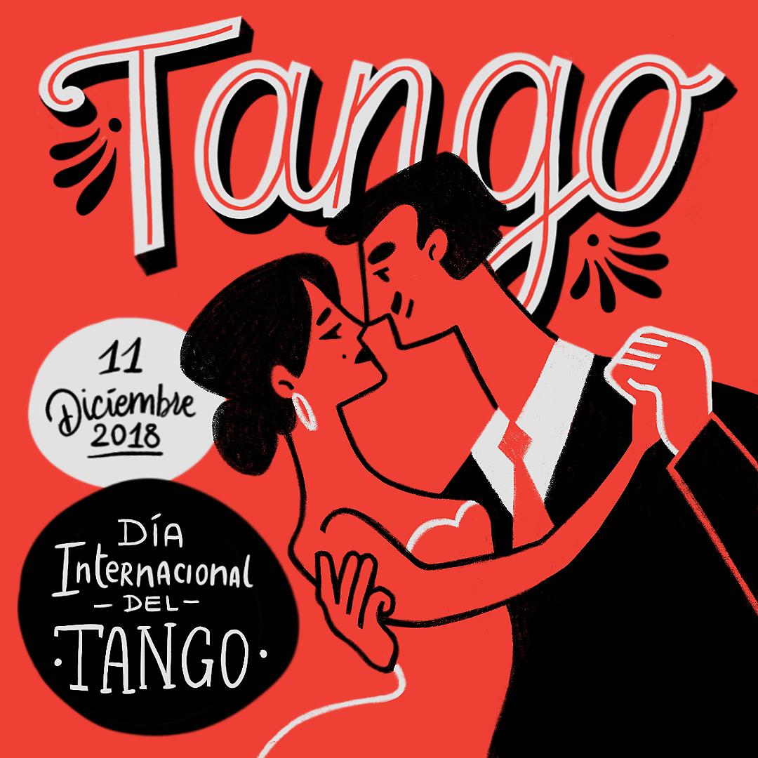 Día internacional del Tango type lettering poster design argentina dance tango amatita studio illustration