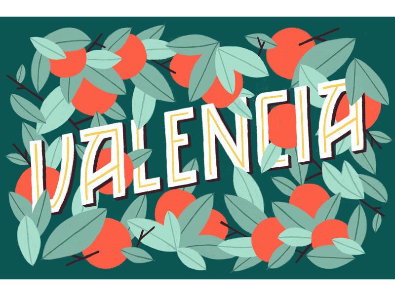 Greetings from Valencia orange tangerine leaf spain fruits typography amatita studio illustration
