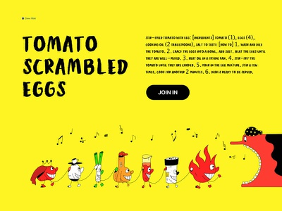 Illustration 5/100 personification eat oil salt dish shallot cartoon king music tomato fire egg yellow vector illustration cute design