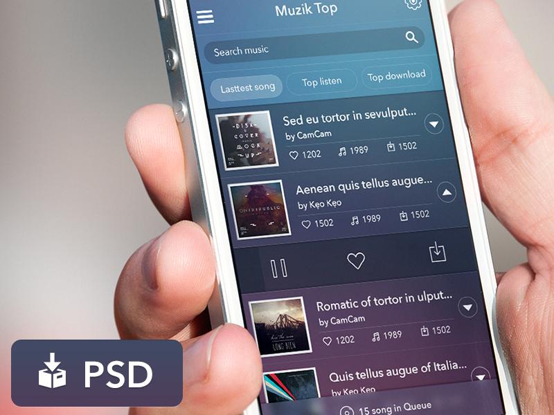 Freebie PSD: App Music UI ux ui ios clear violet blue simplicity free freebie