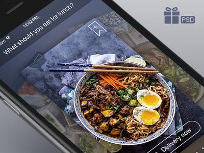 Delivery Food App [Card Views] blur food delivery ios app