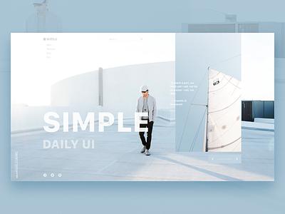Simple Ui blue freebie minimal lookbook landing interface fashion