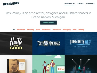 Updated Website, RexRainey.com web website interactive animation illustration design