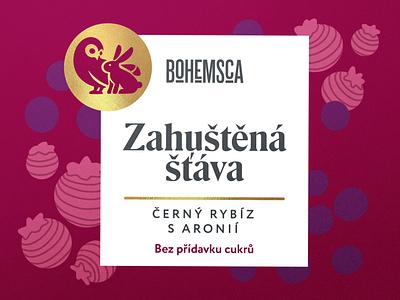Bohemsca syrup blueberry illustration packaging design logo design rabbit owl label design syrup