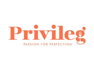 Privileg Logo negative space fork catering graphic design logo