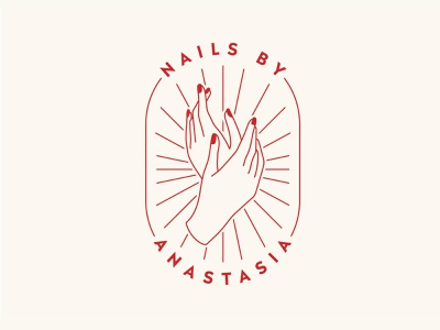 Anastasia nails salon logo oval line illustration salon nail manicure nails logo monoline