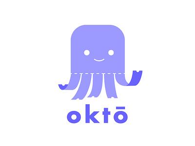 okto logo flat  design animal icon ticket octopus logo