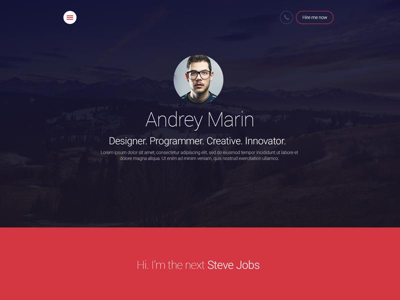 MyWALL Theme, Resume/CV website web design resume wall template theme javascript css html vcard cv