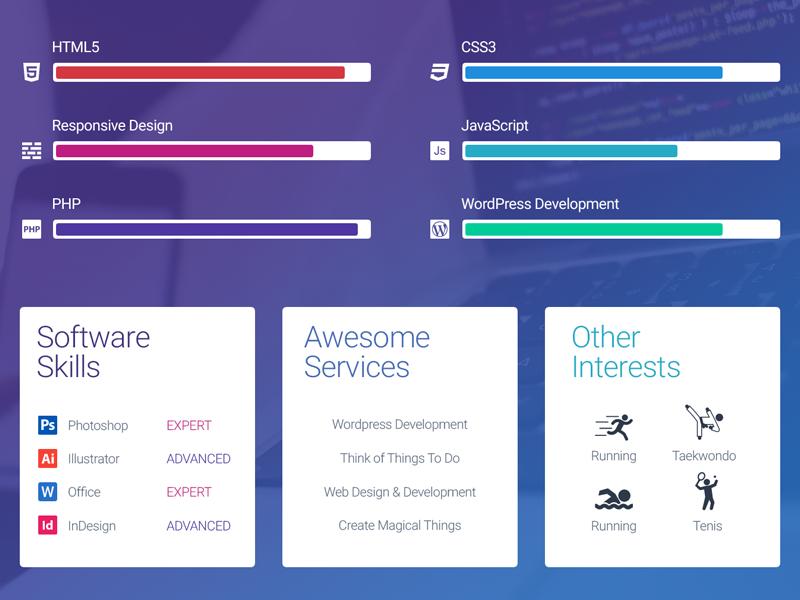 MyWALL Theme Resume/CV Skills template website web vcard cv abilities skills resume theme design