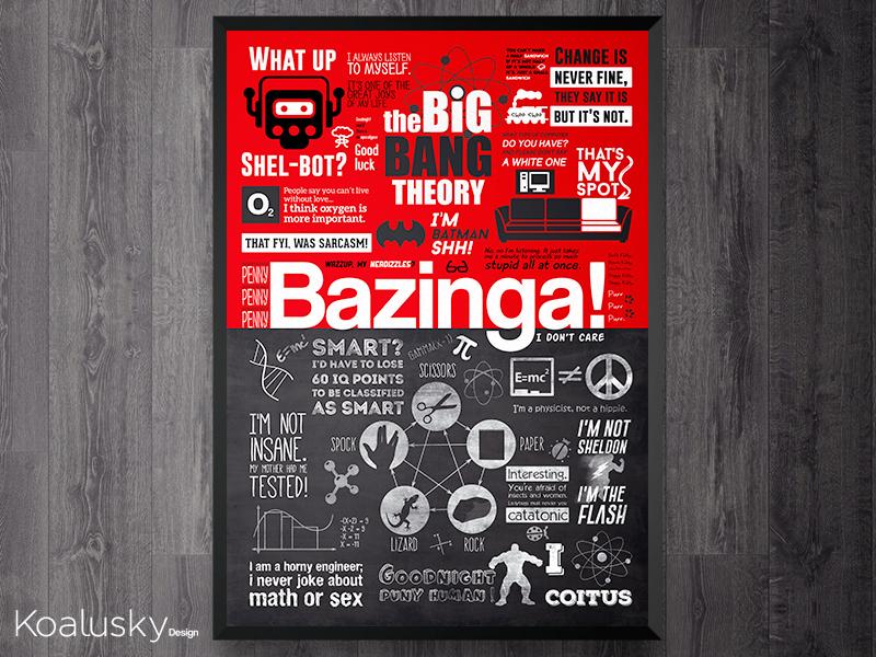 The Big Bang Theory Poster series design wall art print art koalusky bazinga the big bang theory tbbt frame poster