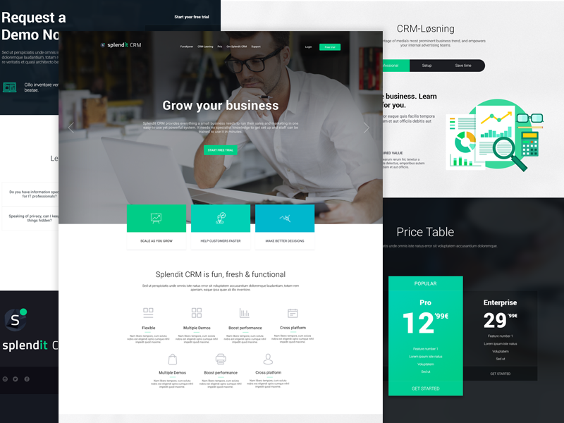 Splendit CRM form contact ux tech table green development design website price crm web