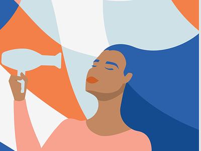 Lockdown Activity - Hairdrying illustrator graphic design vector illustration