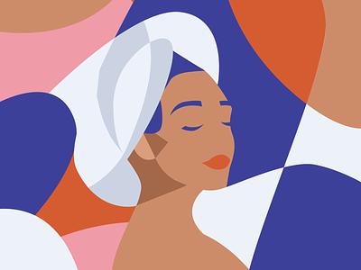 Lockdown Activity - Lady Towel Head graphic design vector illustration
