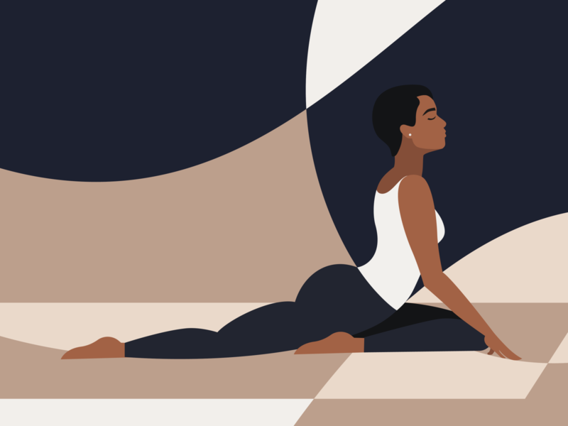 Lockdown Activities - Yoga yoga pose illustration melanin vector illustration color blocking yoga