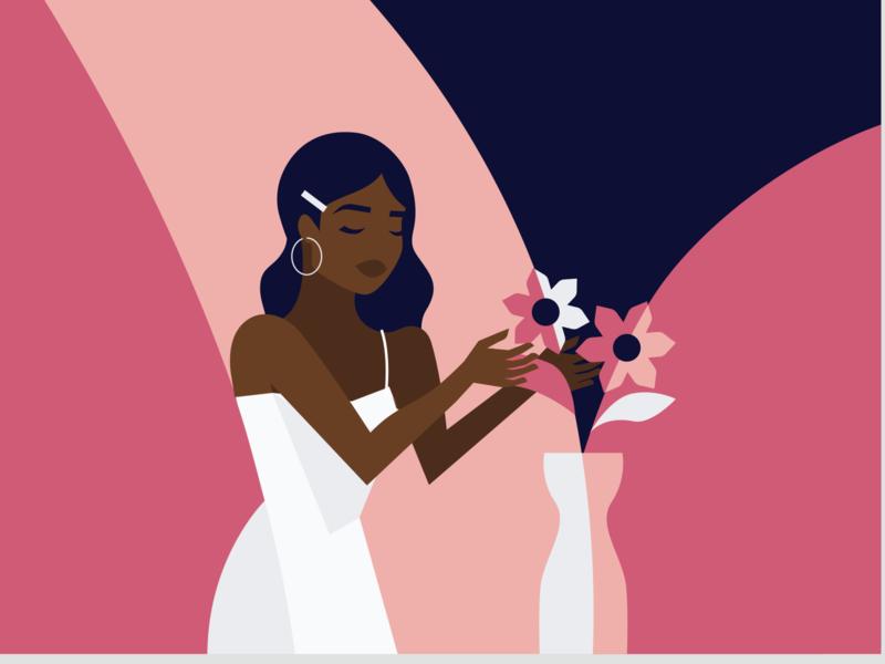 Lockdown Activities - flowers vector illustration