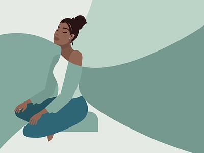 Meditate drawing vector illustration