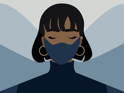 Mask On fashion mask colour blocking melanin vector illustration