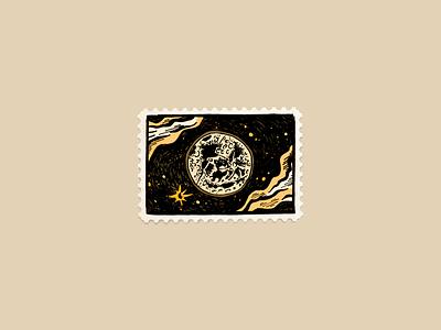 Moonshot by hand drawing illustration stamp design