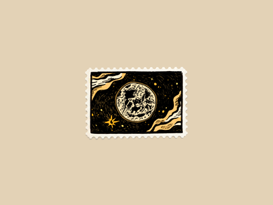 Moonshot by hand drawing illustration stamp design