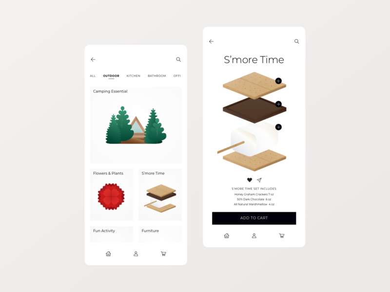 Buy Things Easier 😉 simple modern camping smore app shopping uidesign mobile design online shopping mobile app ux ui cabin graphic flower simple illustration plant nature illustration design