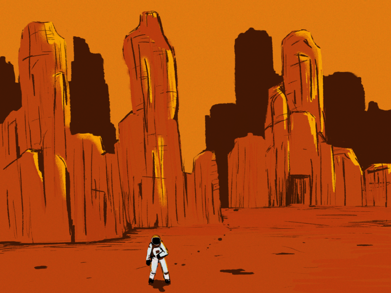 """""""MARooned"""" digital painting digital 2d concept art comics lost in space planet astronaut mars space photoshop illustration"""