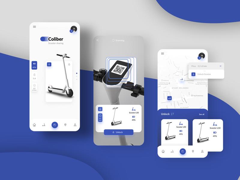 Scooter sharing app icon logo ux mobile app design ui