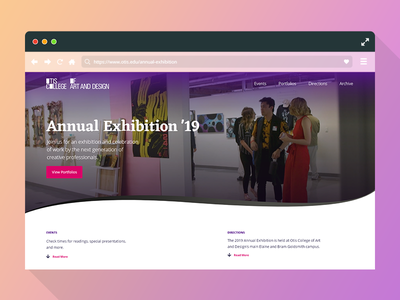 Otis College - Annual Exhibition Redesign ui design user experience design user experience front-end development adobe xd web design
