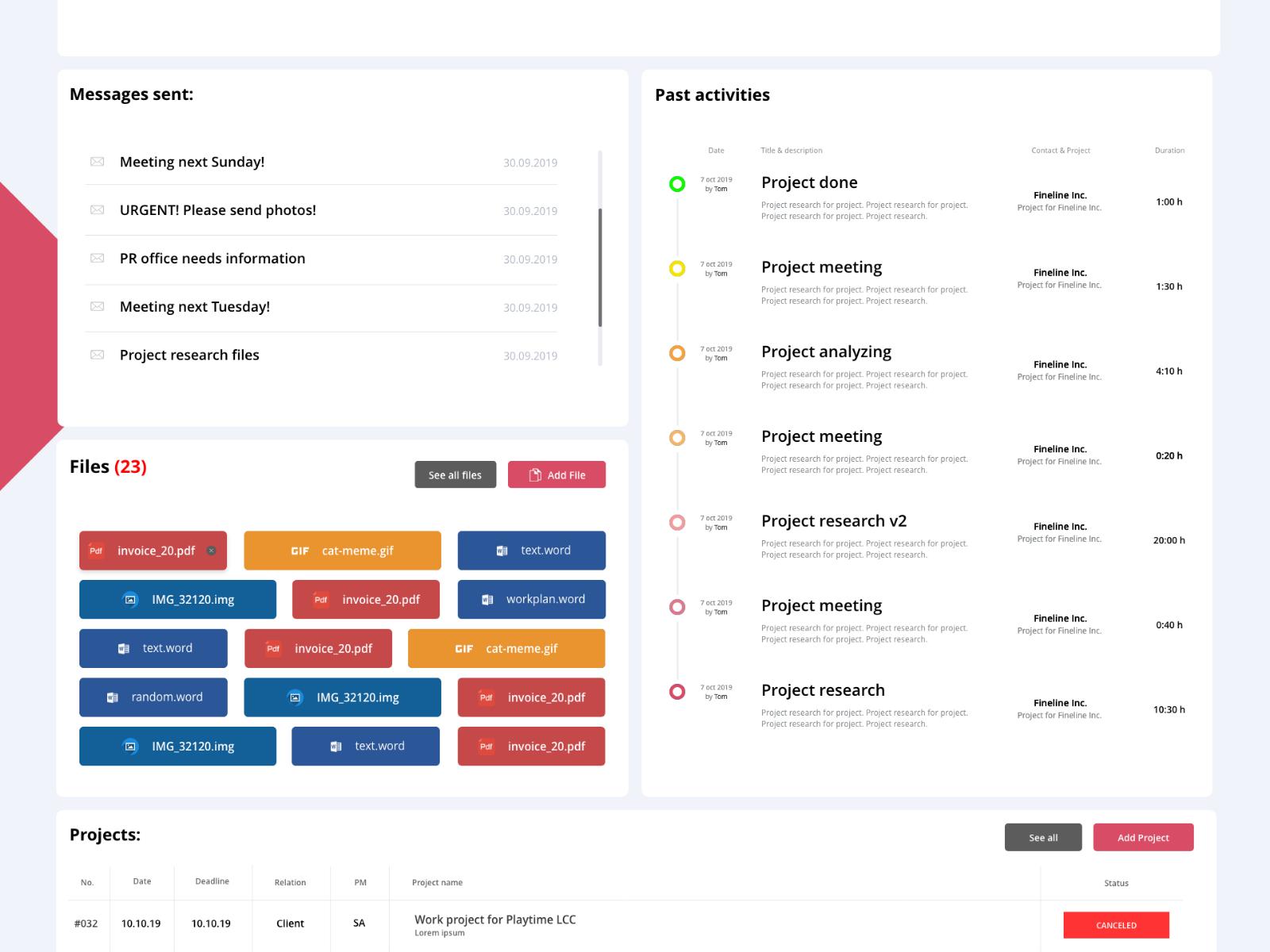 Contacts profile - SCORO concept