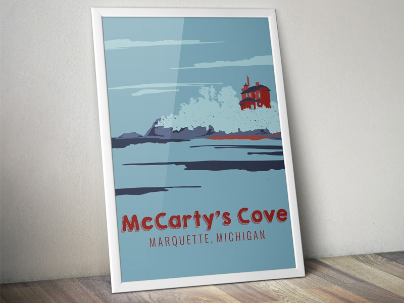 The Marquette Project : McCarty's Cove - The Poster michigan lake superior rocks lake poster landscape scenery design illustration adventure flat adventure