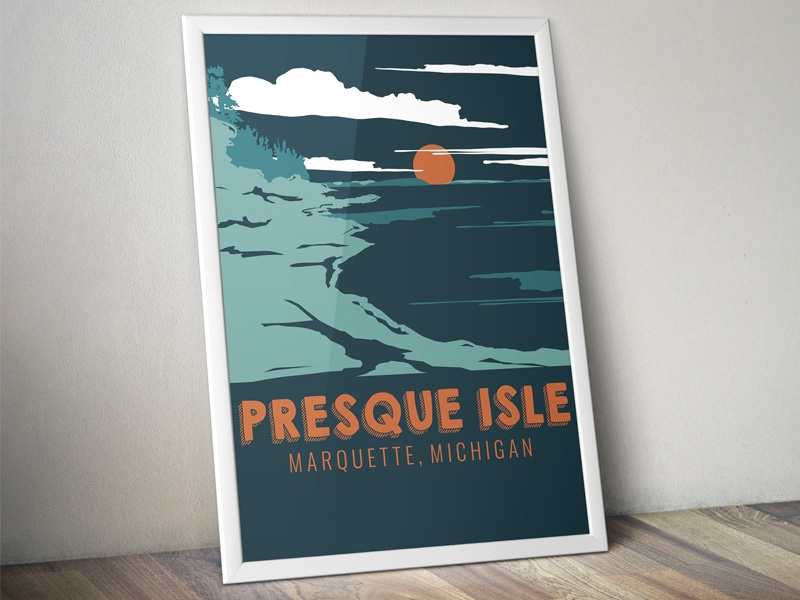 The Marquette Project : Presque Isle - Poster michigan lake superior rocks lake poster landscape scenery design illustration adventure flat adventure