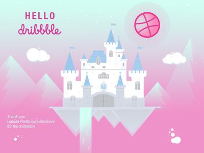 Hello Dribbble! invitation card debut dribbble design