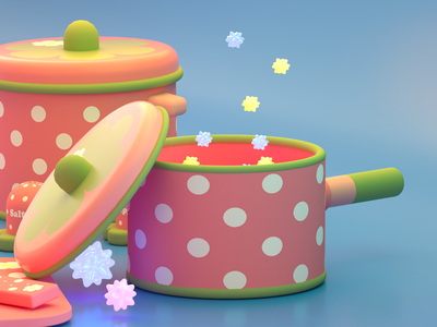 Strawberry dots blender star pot strawberry 3d art dishes octanerender octane c4d cinema4d 3d