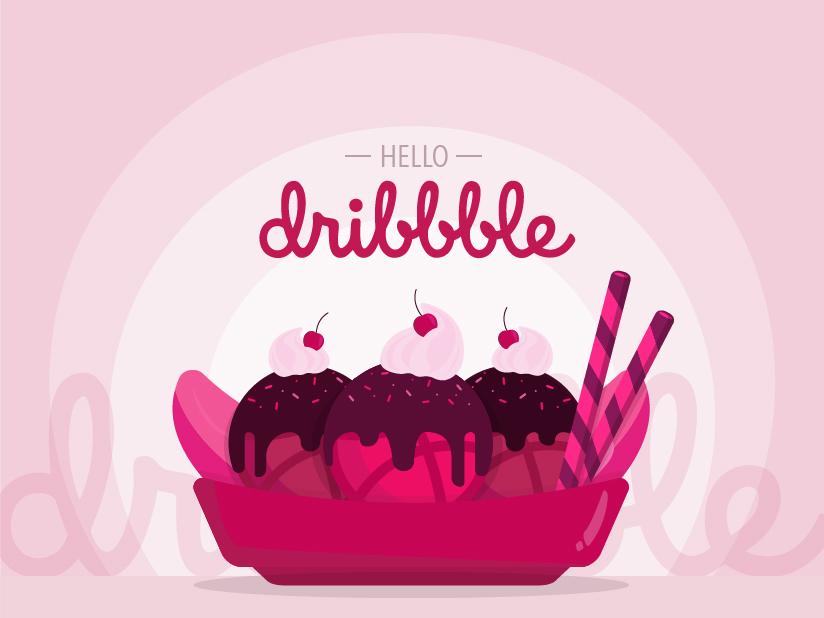Hello Dribbble hi dribbble dessert ice cream bananasplit banana split illustrator illustration hello dribbble hello firts shot debut
