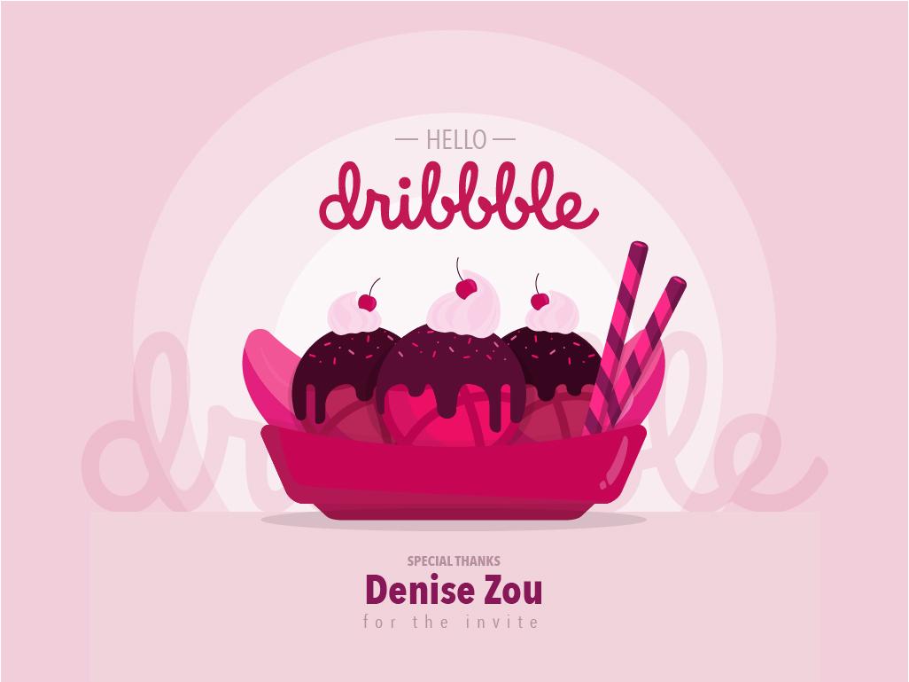 Hello Dribbble hi dribbble thanks for invite thanks invite pink illustration illustrator hello dribble debut dessert ice cream banana split