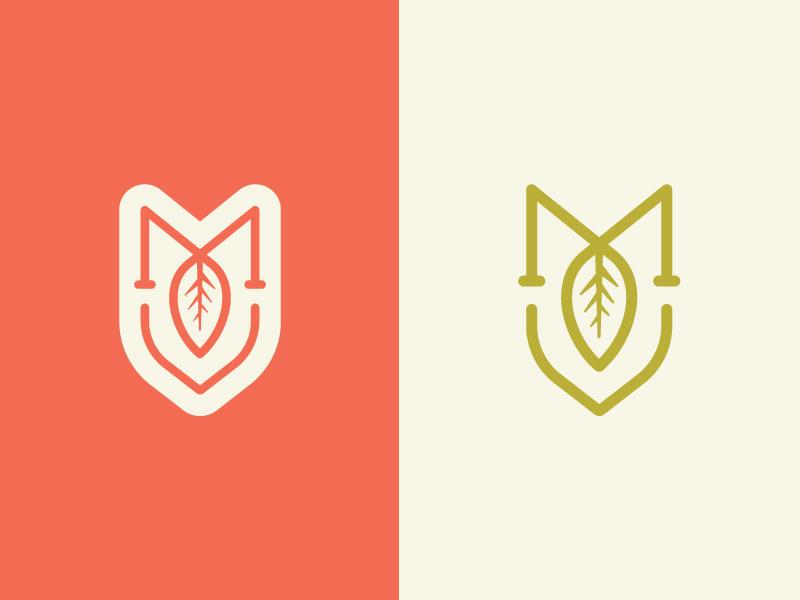 Minto Island Tea Company - Logo Mark m coral leaf monogram tea