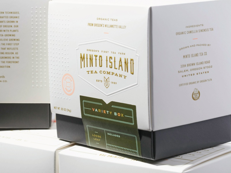 Minto Island Tea Company - Packaging emboss oregon box packaging tea
