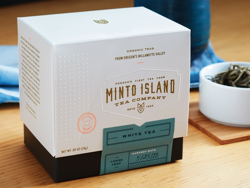 Minto island tea packaging
