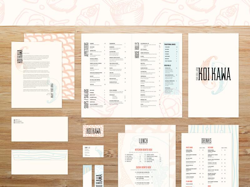 Koi Kawa - Print Collateral menu print illustration design branding