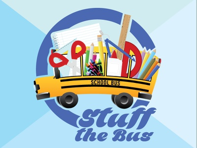 Stuff The Bus school supplies stuff bus yellow paper pen pencil back to school