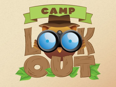 Camp Lookout camp owl look out summer kids logo leaves nature explore explorer binoculars